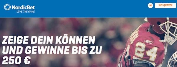 NFL 250 Euro Gewinnspiel bei Nordicbet