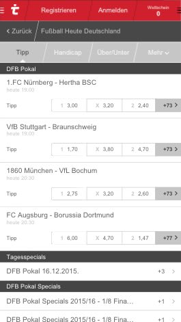 Quoten auf der Tipico App zum DFB Pokal Achtelfinale