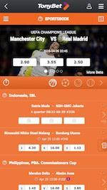 Tonybet mobile App Startseite für Android und iPhone