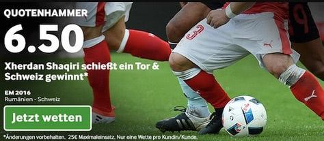 Schweiz Quotenhammer bei Betway mit Shaqiri Tor