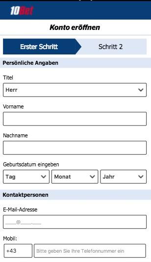 10bet App Registrierung für Smartphone & Tablet