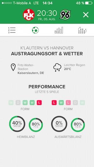 Statistiken zum Match mit Wetter Head to Head und Performance bei ibetlive