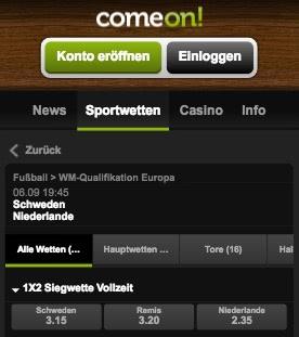 WM Quali Quoten Schweden - Niederlande in der ComeOn App