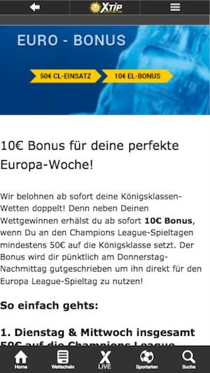 10 Euro Bonus bei Xtip für die Europa League
