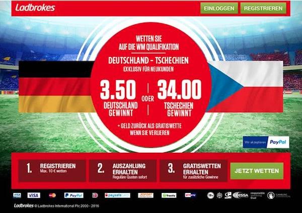 WM-Quali Deutschland-Tschechien Quoten-Boost bei Ladbrokes