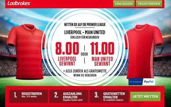 Liverpool vs. Manchester United Hammerquoten bei Ladbrokes