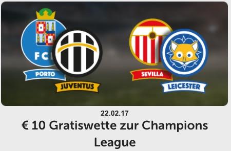 10€ Gratiswette zur Champions League am 22.02. bei ComeOn