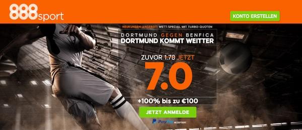 888sport: Quotenboost auf Dortmund kommt gegen Benfica weiter