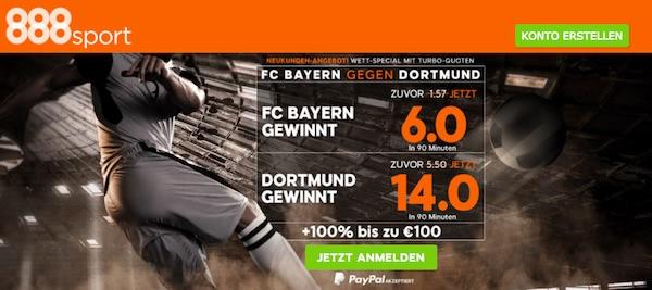 888sport Quoten zum DFB-Pokal Halbfinale Bayern vs. Dortmund am 26.04.2017