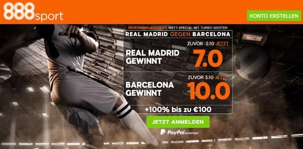 888sport El Clasico Quoten zu Real Madrid vs. FC Barcelona