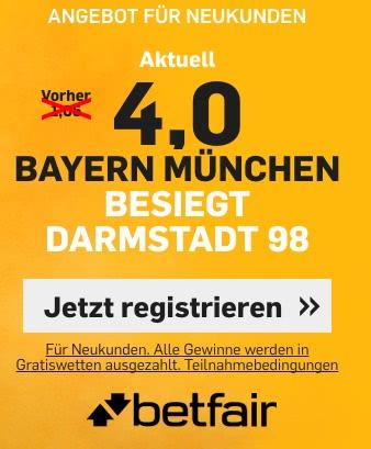 Top-Quote auf Bayern Sieg vs. Darmstadt bei Betfair