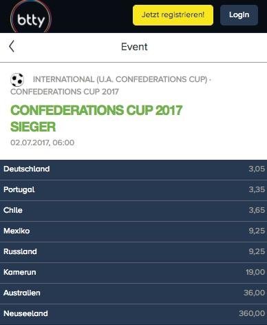 Gesamtsieger Quoten zum Confed Cup 2017 bei Btty