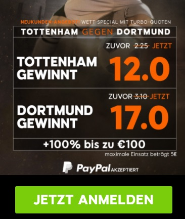Top-Quoten zu Tottenham vs. Dortmund bei 888sport