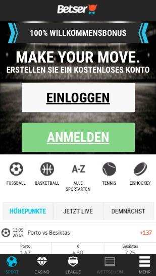 Sportwetten Menü der Betser App für Android & iPhone