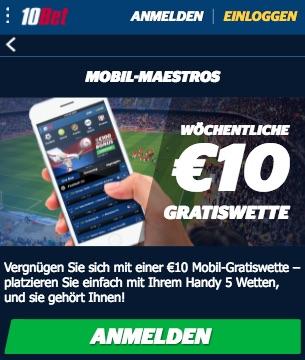 10Bet: mobile Gratiswette im Wert von 10€
