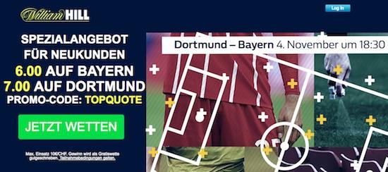Top-Quoten zu Bayern München vs. Borussia Dortmund bei William Hill am 04.11.