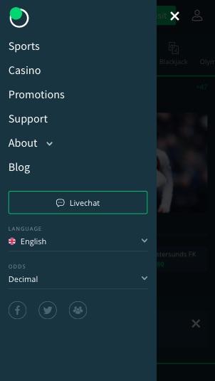 Sportwetten Menü von Sportsbet.io mobile