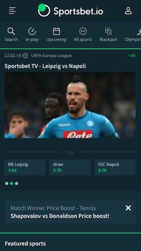 Screenshot der Sportsbet.io App