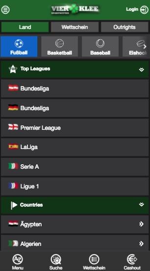 Wettprogramm in der Vierklee App für Android + iPhone