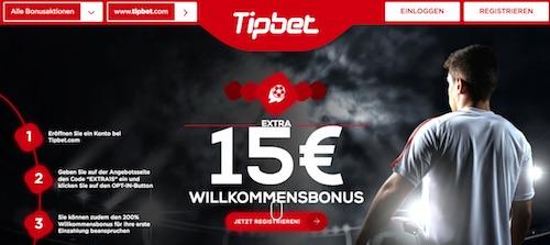 Tipbet 15€ extra Willkommensbonus