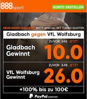 888sport Quotenboost zu Gladbach gegen Wolfsburg