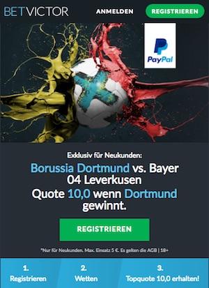 Betvictor Quotenboost zu Borussia Dortmund gegen Bayer Leverkusen