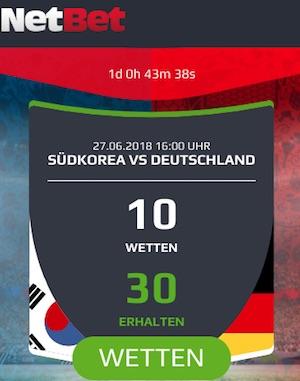 Netbet: 30€ Gratiswetten bei Südkorea vs. Deutschland