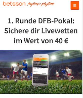 40€ Gratiswette für den DFB Pokal bei Betsson