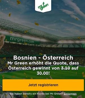 Quote 30,0 auf Österreich besiegt Bosnien in der Nations League
