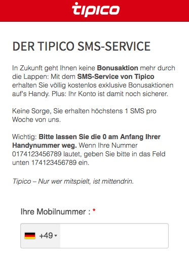 Tipico SMS-Service