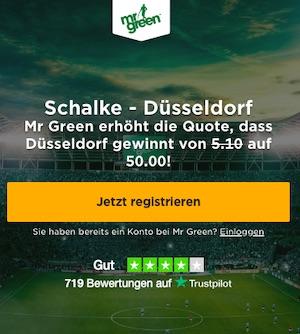 Mr Green Quotenboost auf Schalke - Düsseldorf im DFB Pokal