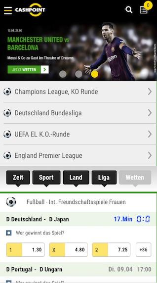 Startseite der Cashpoint mobile App