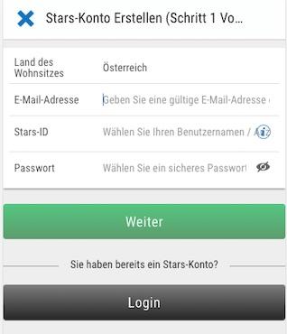 Registrierung in der Betstars Android und iPhone App