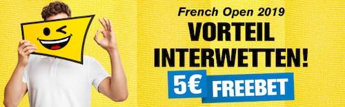 5€ Gratiswette zu den French Open bei Interwetten