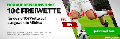 10€ Gratiswette zu Stuttgart - Hannover bei Betway