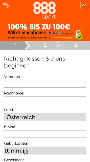 Registrierung in der 888 sport App