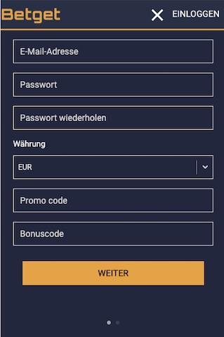 Registrierung in der Betget App