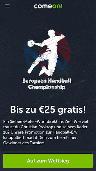 Gratiswette bei der Handball-EM in der ComeOn App holen