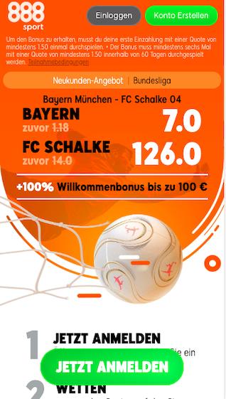 Willkommens-Angebot bei 888sport für FC Bayern München gegen den FC Schalke