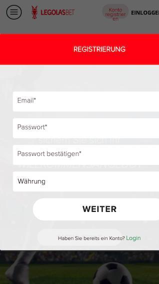 Registriere dich bei der Legolas.bet Sportwetten App