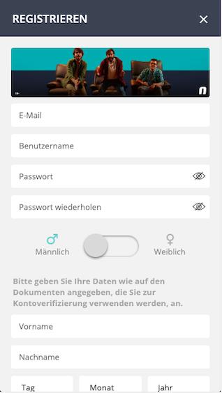 Novibet App Registrierung