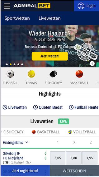 Startbildschirm der Admiralbet Wett App