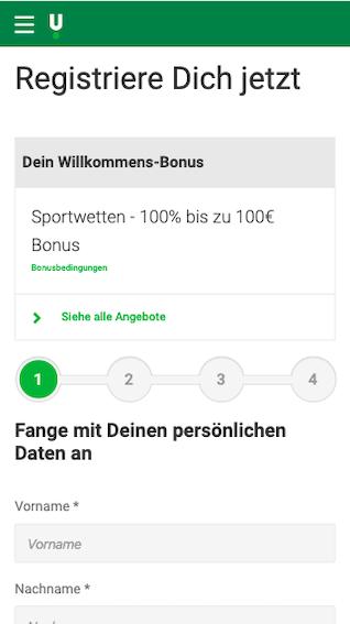 Registrierung in der Android / iPhone Unibet App