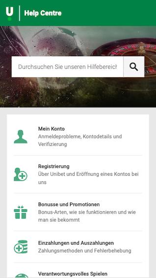 Support Unibet mobile App