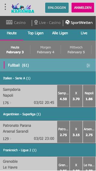 Wettprogramm der Karamba Sportwetten App