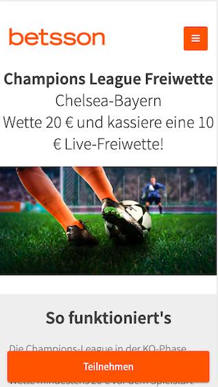 Betsson Live-Freiwette für das Champions League Achtelfinale Chelsea gegen Bayern München