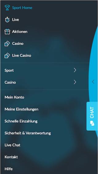 Sportwetten Menü der Betvictor Android & iPhone App