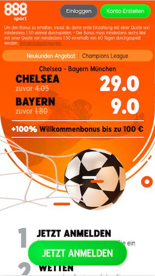 Quotenboost bei 888sport für das Champions League Achtelfinale Bayern München gegen Chelsea
