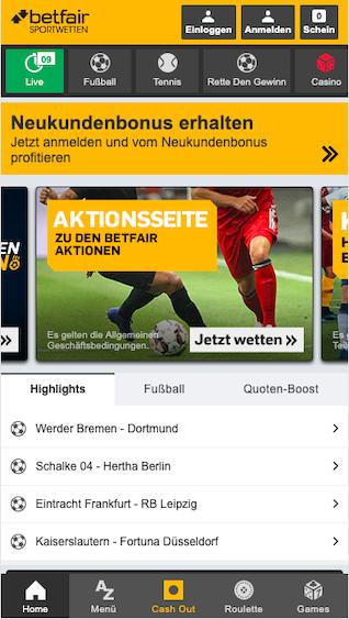 Startseite der Betfair Sportwetten App
