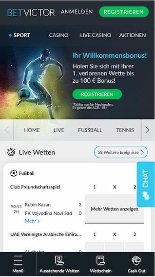 Screenshot der Startseite der Betvictor App